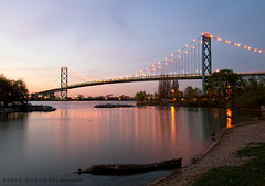 Ambassador Bridge (Linda Goodhue) Tags: longexposure bridge sunset detroitriver bordercrossing detroitmichigan windsorontario ambassadorbridge internationalborder nikond800 lindagoodhuephotography nikkorf282470mm