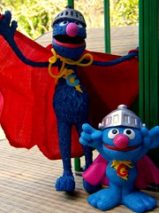 . . .? (John 3000) Tags: blue cute television monster toy actionfigure tv dynamic fuzzy character duo pair sesame super icon workshop sesamestreet hero superhero cape grover pbs ctw juguete