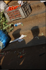 Steps on the Shadow (saish746) Tags: old morning dog india white man black flower fruits vegetables lady canon tomato photography lemon russell shadows basket market tea indian cucumber tomatoes bangalore papaya vegetable move beggar grapes photowalk lime bazaar crate veg queer seller chai begger shivaji potm bbmp