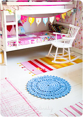 Crochet rug (Craft & Creativity) Tags: blue kids creativity design diy bed interior stripes room crafts crochet craft rug rugs doily kidsroom pennants crochetrug bulkbed