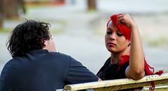 Vermelho // Red (fcribari) Tags: red brazil brasil bench hair nikon couple banco vermelho recife casal pernambuco cabelo d7000