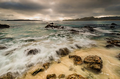Otama Rocks (Nick Twyford) Tags: sea newzealand sky seascape colour beach water rock clouds island dawn islands coast nikon rocks surf waves wideangle filter lee northisland coromandel otama mercurybay kuaotunu 1024mm 06gnd d7000 mercuryislands lee06gnd greatmercury