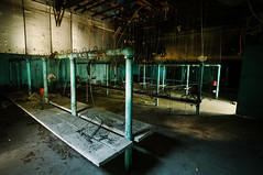 bath house (Sam Scholes) Tags: light shadow building green abandoned digital dark utah nikon mine dirty mining baskets coal benches lockerroom bathhouse hiawatha industrialdecay d300 kingcoal usfco unitedstatesfuelcompany