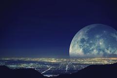 super moon (Eric 5D Mark III) Tags: california city light sky usa moon night canon landscape photography star losangeles cityscape view unitedstates fullmoon observatory vista mtwilson citylight lacanada ericlo greaterlosangelesarea tse17mmf4l eos5dmarkiii