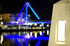 Light Up The Night 2 (Daniel E Lee) Tags: bridge blue blur reflection water night canon concrete 50mm lights purple bokeh path ii perth 18 eastperth 550d t2i kissx4canon photosbydlee photosbydlee13