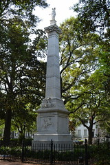 Casimir Pulaski Monument in Monterey Square. Pulaski (1745-1779) came from Poland to serve with the Continental Army. He founded the Pulaski Cavalry Legion and was killed at the Siege of Savannah on October 9, 1779.
