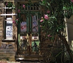 At the entrance of an old residence (amalia lam) Tags: homes architecture doors oldhouses residences halki prigiponisa