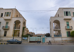 Building from the Italian settlement in Benghazi, Libya (Eric Lafforgue) Tags: africa street color architecture italia northafrica colonial libya libia libye libyen lbia libi libiya  ribia liviya libija       lbija  lby  libja lbya liiba livi  a0014789