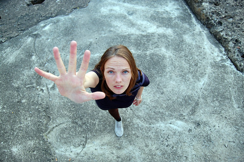 Woman reaching out