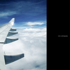 cloud nine (Chez C.) Tags: street travel blue sky up clouds flying airport candid air flight passenger minimalism emptiness