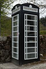 Black and White phonebox, Achfary, Sutherland, Scotland (tomgardner) Tags: uk greatbritain blackandwhite scotland highlands europe european phone unitedkingdom box britain telephone scottish highland british unusual sutherland achfary