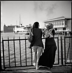 2 friends  istanbul, turkey  2012 (lem's) Tags: friends 2 port boat dock women hijab istanbul bronica bateau quai bosphorus femmes amies bosphore zenza