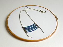 mini breastplate necklace (Trincar Uvas) Tags: geometry jewelry jewellery handdyed contemporaryjewelry textilejewelry cottonthread fiberjewelry moderntribal tribalinspired cottonthreadwrapped