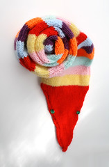 Rainbow Striped Knitted Snake Scarf (GezuntehMoid) Tags: autumn winter pet wool animal scarf neck rainbow reptile snake knit multicoloured novelty handcrafted colourful scarves stripey knitted warmer accessory creaturecomforts etsyuk clothingitem mollysknitted