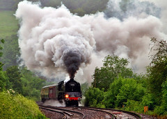 Steam in the Landscape (KPAR UK Photography) Tags: uk trees england rural speed train canon countryside action engine rail railway loco gloucestershire steam 7d locomotive railtour dukeofgloucester 71000 uksteam cathedralsexpress anawesomeshot framptonmansell