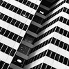 The Cut Out (Mabry Campbell) Tags: city windows blackandwhite bw usa white black detail building glass lines june architecture floors facade skyscraper photography us downtown texas unitedstates fineart perspective houston 85mm center architectural f22 100 levels 2012 harriscounty ef85mmf18usm canonef85mmf18usm firstcitytower ¹⁄₁₀₀sec mabrycampbell june32012 201206030683