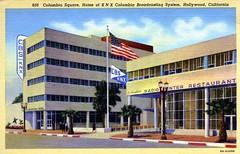 Columbia Square Home of KNX Columbia Broadcasting System Hollywood CA (Edge and corner wear) Tags: california vintage restaurant pc los angeles linen postcard columbia system card hollywood broadcasting a cbs