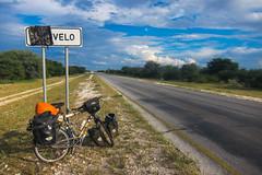 Oshivlo (jbdodane) Tags: africa bicycle day518 namibia oshivelo road sign velo freewheelycom cycling vlo cycletouring cyclotourisme ovamboland jbcyclingafrica