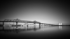 Spanning Space & Time (mikeyatswb) Tags: longexposure blackandwhite bw monochrome coolingtowers battleshipcove bragabridge leefilters goldnblue singhrayfilters battleshipmassachusetts braytonpointpowerstation leesuperstopper