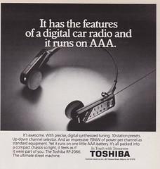 Toshiba 1988 (moogirl2) Tags: walkman 1988 80s toshiba spymagazine 80sads vintageads vintagetechnology 80stechnology personalstereos 80slifestyle