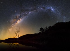 Windamere Dam (ourkind) Tags: trees panorama moon zeiss canon reflections stars landscape nightscape australia astrophotography astronomy milkyway windameredam seeaustralia seensw