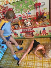 Horse Play (andersonsmith.katie) Tags: horse sexy kitchen sex drunk vintage doll play room drinking ken barbie whiskey kitsch scene retro alcohol booze rement diorama saddle