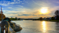 Koblenz Sundown (leonm84photography) Tags: blue light sunset sky sun sunlight reflection nature water river germany deutschland nikon flickr sundown explore dslr tamron hdr highdynamicrange koblenz recommended deutscheseck highdefinitionrange tamron1750mmf28 goldcollection spiegelrefex