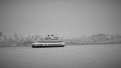 new horizons (vfrgk) Tags: sanfrancisco california blackandwhite bw seascape monochrome ship cityscape horizon foggy serenity bayarea serene tranquil calmness cityview