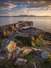 Portencross Sunset II (Dylan Nardini) Tags: light sunset summer sky sun water clouds scotland clyde pier still rocks 2016 portencross
