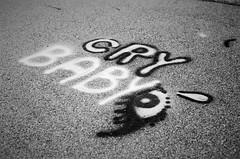 (inaminorchord) Tags: blackandwhite bw baby streetart eye film analog 35mm graffiti words 35mmfilm manual cry crybaby wordart filmphotography fullmanual 35mmfilmphotography