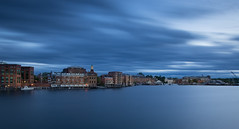 Portsmouth, NH (jamesmerecki) Tags: longexposure sunset sky cloud water clouds river landscape coast seaside cityscape waterfront outdoor dusk newhampshire nh le shore portsmouth bluehour portsmouthnh piscataqua