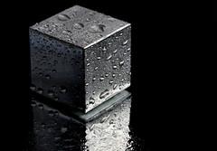 The Mysterious (and wet) Aluminum Cube! (WilliamND4) Tags: macro reflection drops nikon aluminum cube tokina100mmf28atxprod tokina100mmf28lens nikond750