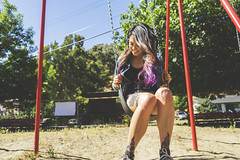 eDSC00172 (Ben Garcia Photography) Tags: vintage old car denim jean jacket shorts fashion hipster nature green purple hair sony a6000 california bay area hotrod hot rod summer summery trees model asian filipino tattoo tattooed tattoos ink inked