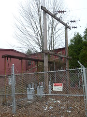 Downgraded small sub (en tee gee) Tags: old electric factory transformer connecticut poles 4kv