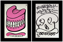 Sweet Toof (Alex Ellison) Tags: show stickers group exhibition signed doodled screenprinted stickee sweettoof highrollersociety secretsfromthestickershed