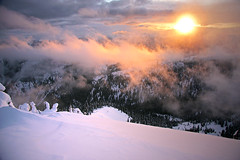 Summit Sunset (justb) Tags: park justin trees winter light sunset sky brown mist mountain canada ski mountains cold colors misty skyline clouds sunrise canon scenery colorful bc snowy goat mount lone touring rugged manning provincial hozomeen hozameen justb 40d