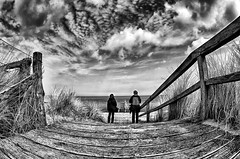 Sunday (dubdream) Tags: ocean wood sea sky blackandwhite white seascape black beach water clouds strand germany landscape nikon meer balticsea fisheye sw schwarzweiss ostsee hdr d300 beachentrance sigma10mm dubdream