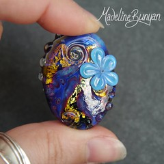 "Blue Garden, flowers, Swirls Lampwork Focal Bead • <a style=""font-size:0.8em;"" href=""https://www.flickr.com/photos/37516896@N05/6983309076/"" target=""_blank"">View on Flickr</a>"