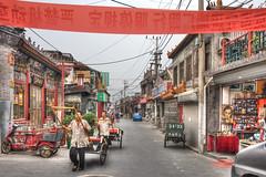 Rickshaws on Liulichang (Robert Kendall) Tags: china street photoshop asia banner beijing rickshaws stores hdr photomatix