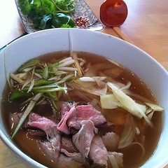 Tucking into bowl of homemade faux pho.