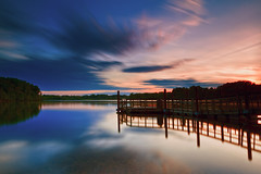 Clouds come floating in (dK.i photography (counting down)) Tags: longexposure light sunset germantown night clouds canon reflections cloudy maryland senecalake waterscape boyds ef2470f28lusm psoup blackhillsregionalpark hoyand400 5dmkii singhrayrgnd promotecontrolpctrl1