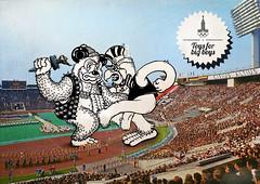 Olympic teddy bear vs Sam the Olympic eagle (Seva_MFN) Tags: vintage sam retro teddybear olympic vintagephoto sochi2014 moscow80 olympiceagle