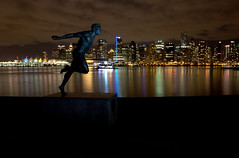 Harry Jerome Statue - Stanley Park, Vancouver (w4nd3rl0st (InspiredinDesMoines)) Tags: ocean city longexposure travel wallpaper urban color colour reflection water skyline night vancouver canon landscape lights bay harbor spring colorful bc screensaver harbour outdoor britishcolumbia famous wideangle gasstation pacificocean nighttime jerome 5d inlet stanleypark colourful coal chevron 1740 coalharbour vanguard trackstar 2012 coalharbor pacificplace harryjerome placestosee shutterreleasecable yongnuo bestplacestophotograph 5dmk2 sbh300 altapro 263at