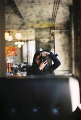 (Twiggy Tu) Tags: trip selfportrait paris france film me mirror coffeeshop twiggy 2011 contaxrx