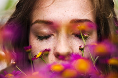 close your eyes and dream (laura zalenga) Tags: pink summer orange woman flower nature girl beautiful face yellow hair spring bush eyes colorful closed skin sleep dream blond freckles 2012 nikond5000 laurazalenga
