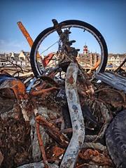 What's through the wheel? (ßlϋeωãvε) Tags: clock wheel metal buildings scotland pier junk harbour pipe rusty clocktower rubbish townhall skip scrap westernisles metals isleoflewis hebrides portauthority stornoway dredged