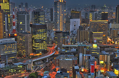 Osaka Skyline (roevin | Urban Capture) Tags: city longexposure trip light red sky reflection building rooftop japan skyline buildings reflections dar