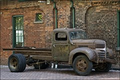 1940's dodge truck ..... (ana_lee_smith) Tags: door toronto macro heritage wheel truck vintage lens handle photography rust downtown steering district details historic 1940s beercan area damage dodge windshield cracks distillery nameplate portlands gooderhamworts thedistillery analeesmith minoltaaf70210mm sonyalphaslta33
