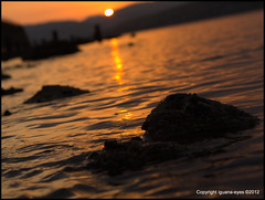 Sunset on the rocks (Iguana-eyes Photos) Tags: light sunset sea sky classic river fire bay scotland riverclyde clyde greenock big cost esplanade series inverclyde