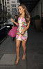 Rochelle Wiseman from pop group The Saturdays, leaving her hotel. London, England
